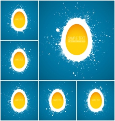 Set of 6 Happy Easter background vector image