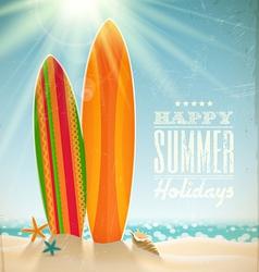 Surfboards on a beach against a sunny seascape vector