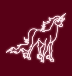 the outline of the unicorn neon lighte vector image