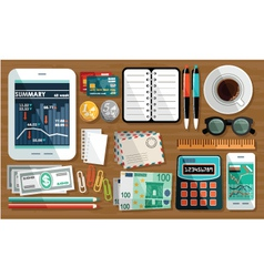 Business workplace with cup of coffee office thin vector image vector image