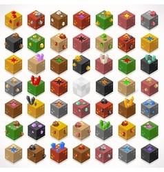 Mine cubes 02 elements isometric vector