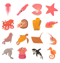 ocean animals fauna icons set cartoon style vector image vector image