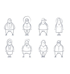 set of line styled people vector image vector image
