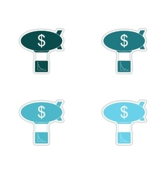 Set of paper stickers on white background air vector