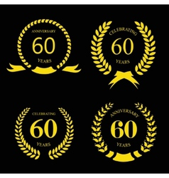 sixty years anniversary signs laurel gold wreath vector image vector image