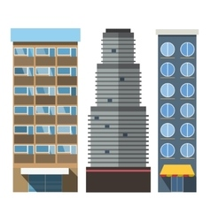 buildings set skyscrappers small house vector image vector image
