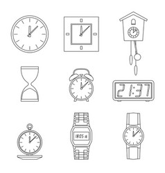 clock line icons vector image