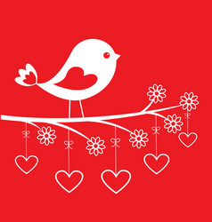 cute bird - stylish card for valentines day vector image vector image