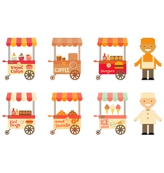 Food Carts with Sellers Set Isolated vector image vector image