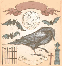Hand Drawn Vintage Halloween Crow Set vector image vector image