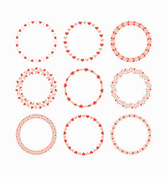 set of red and pink heart wreaths and circles vector image