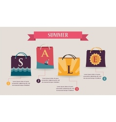 Summer sale infographics with colorful shopping vector image vector image