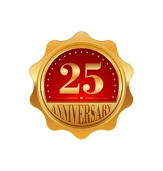 25 years anniversary golden label vector image