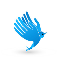 abstract blue bird with hands as wings icon vector image