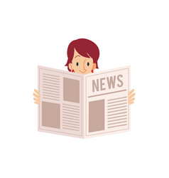 An adult woman holding a newspaper in his hands vector