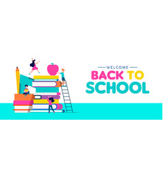 back to school web banner of children and books vector image