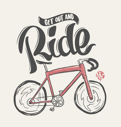bicycle hand drawn lettering ride t-shirt print vector image