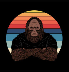 bigfoot fierce face sunset retro vector image