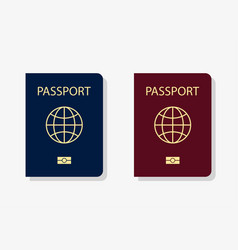Blue and red passport covers with shadow vector