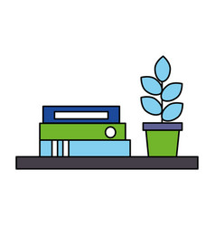 bookshelf books potted plant office vector image