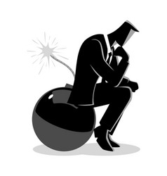 businessman sitting on a bomb while thinking vector image