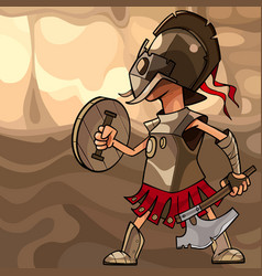 cartoon man dressed as a medieval warrior with an vector image