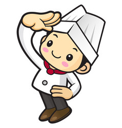 Chef character view far isolated on white vector