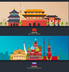 China and russia tourism travelling vector