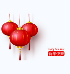 chinese red papertraditional lantern vector image