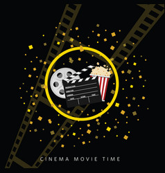 Cinema and movie time black background two vector