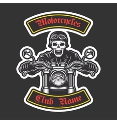 Classic biker embroidery vector image