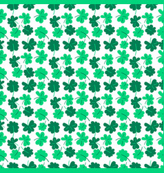 Clover seamless pattern with trefoil and four-leaf vector