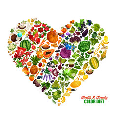 Color diet heart healthy food nutrition vector