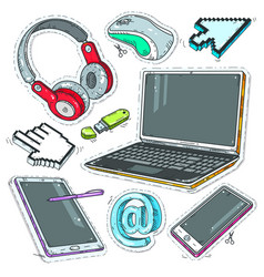 Colourful sticker computer internet pointers vector