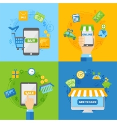 computer shopping concepts online payment vector image
