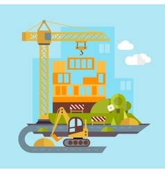 Construction Site Building Flat vector