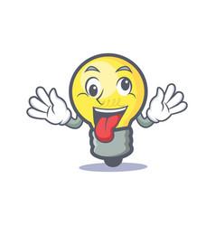 Crazy light bulb character cartoon vector