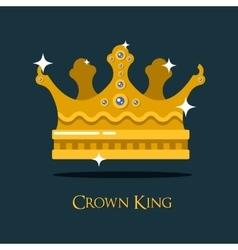 Crest or king queen golden crown vector image