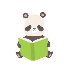 cute panda bear reading book adorable smart vector image