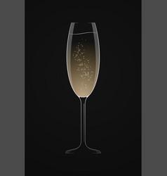 Dark champagne logo glass champagne on black vector