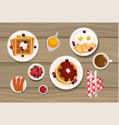 Delicious waffles with pancakes and fried eggs vector