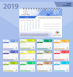 Desk calendar 2019 simple colorful gradient vector