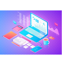 Digital finance analytics poster with open laptop vector