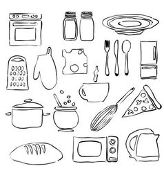 Doodle kitchen images vector
