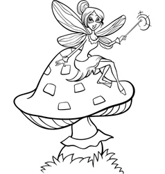 elf fairy fantasy cartoon coloring page vector image