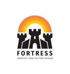 fortress concept logo design castle sign tower vector image