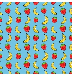 Fruits Seamless Background with Funny Bananas vector image