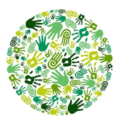 go green hands circle vector image