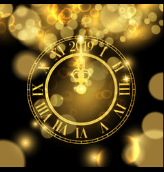 Gold new years 2019 clock luxury greeting card vector