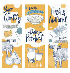 Hand drawn sketch dairy products set vector